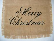 "MERRY CHRISTMAS Script 13"" x 36"" Jute BURLAP Table Runner"
