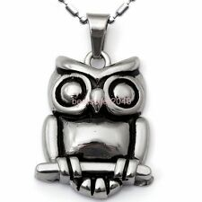 Polished Silver Stainless Steel Night Owl Pendant Mens Necklace Birthday Gifts