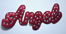 ANGEL AND STUDS MAROON RED Embroidered Sew Iron On Cloth Patch Badge APPLIQUE