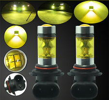 2X 9005 HB3 100W LED 4300K YELLOW Projector Fog Driving Light Bulbs