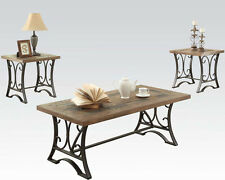 NEW 3PC TORY OAK FINISH WOOD ANTIQUE BLACK METAL SLATE COFFEE END TABLE SET