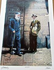 "Polish Newspaper Lithograph Signed Silberstein  16x11."" Ltd Ed"