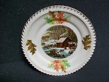 Harker Currier & Ives A Home in the Wilderness Bread & Butter Plate Fall Leaves