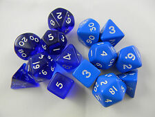 DUNGEONS & DRAGONS Dice TWO Sets Translucent Blue & Opaque Blue D&D Role Play