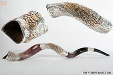 Medium Jerusalem + Grapes  Amazing Silver-plated Yemenite Kudu Shofar+Bag