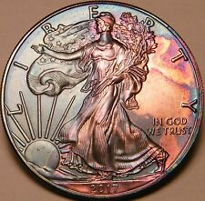 2017 American Silver Eagle 1 Oz Coin Monster Rainbow 2 sided Toned US Mint Box i