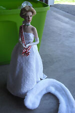 "Franklin Mint Porcelain Cloth Princess Grace Coronation Sample Doll 16"" Tall"