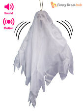 "20"" Animated Light Up Flying White Ghost Halloween Party Prop Decoration + Sound"