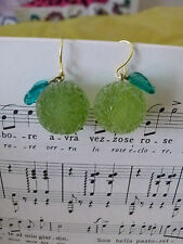 Handmade japanese sugar coated beads green apple candy boucles d'oreille