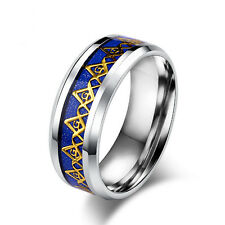 8MM Blue/Black Stainless Steel Freemason Mason Ring Men's Titanium Band Size6-12