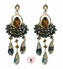 Con Mi Go London a185 ladies' light amber and dark green sequin drop earrings