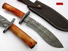 UNION KNIVES CUSTOM MADE DAMASCUS STEEL BOWIE KNIFE (CAMEL BONE HANDLE)