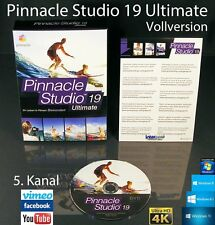 Pinnacle Studio 19 ULTIMATE VERSIONE COMPLETA BOX + DVD 4k video software + manuale NUOVO