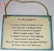 Beautiful Poem  FOR MY DAUGHTER great gift wood sign