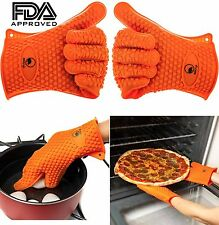 2 Silicone BBQ Gloves Heat Resistant Proof Grill Kitchen Cook Oven Mitts (USA)