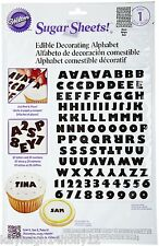 Wilton~Edible Sugar Sheets~Cake Decorating Paper~ALPHABET~NUMBERS~BLACK~A4 SIZE