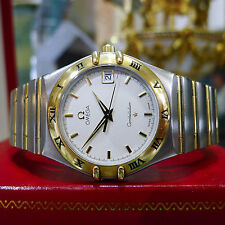 Mens OMEGA Constellation 18k Full Bar Stainless Steel Gold Quartz Watch