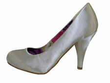 Madden Girl Halliee Silver Satin Fabric Round Toe High Heel Pumps Size 11 M