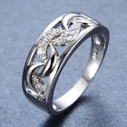 Size T1/2 White Sapphire Lace Ring 10Kt White Gold Filled RingsBand Womens/Mens