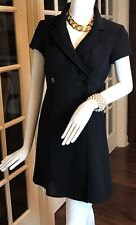NANETTE LEPORE PETITES - 6P - Black Vtg Coat Dress - Short Sleeve - Mini