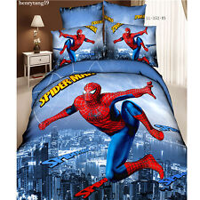 Hot Sale 4pcs Spider Man Queen Size Duvet Cover Comforter Bedding Set