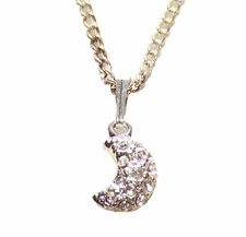 Alluring Clear Diamante Half Moon Pendant/ Chrome Chain Metal Necklace(Zx153)