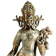 "TARA STATUE 12"" Standing Buddhist Goddess HIGH QUALITY Bronze Resin Lotus Wisdom"