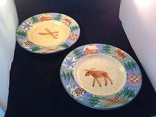 """Sierra by Bella 2 Salad Plates Elk Skis 8 3/4"""" Multi-Color"""