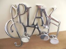 High Quality Aluminium 'PLAY' Wall Hook Rack Hooks Coat Music Metal Perfect Gift