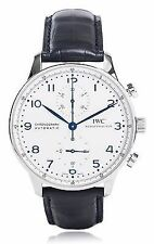 New IWC Portugieser Automatic Chronograph Blue Leather Strap Mens Watch IW371446