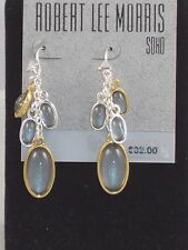 Robert Lee Morris Hammered Two Tone Gray Cabachon Oval Cluster Drop Earrings $32