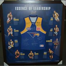 WEST COAST EAGLES THE ESSENCE OF LEADERSHIP SIGNED AND FRAMED CAPTAINS JUMPER
