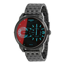 Diesel Mini Daddy Irridescent Dual Time Dial Black PVD Stainless Steel Mens