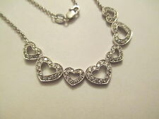 """18K Gold Diamond  Heart Necklace Dia=2.05 Carats SI1-F  17"""" Long  Ex. Condition"""