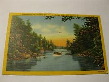 Thousand Islands International Rift Boat Canada United States Linen PC VTG 1953