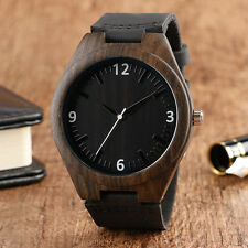 Cool Nature Wood Bamboo Black Genuine Leather Band Strap Men Lady Wrist Watch