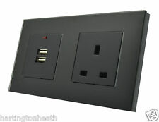 I LumoS Luxury Black Glass Frame 2 Gang 13A UK & 2.1A USB 146X86mm Double Socket