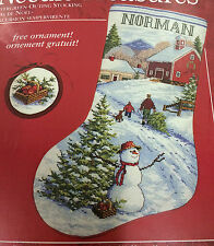NEEDLE TREASURES CHRISTMAS EVERGREEN OUTING STOCKING & ORNAMENT CROSS STITCH KIT