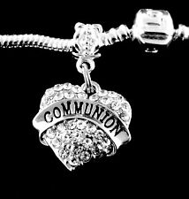 Communion charm  fits European bracelet and necklace   crystal heart style gift