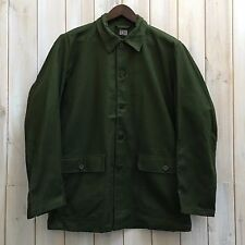 Vintage Swedish Work Chore Jacket DEAD STOCK Olive Green Army Field M / L