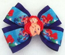 "Girls Hair Bow 4"" Wide Ariel Little Mermaid Purple Grosgrain Alligator Clip"