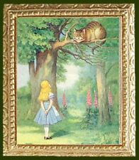 ALICE with  CHESHIRE CAT Dollhouse FRAMED Art Picture  - MADE IN AMERICA