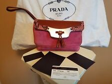 PRADA Suede, Snakeskin & Patent Leather Bag - Clutch/Wristlet