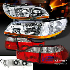 For 98-00 Honda Accord 4dr Chrome Front Diamond Headlights+Red/Clear Tail Lights