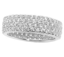EPIPHANY PLATINUM CLAD DIAMONIQUE ETERNALBRILLIAN PAVE SILVER RING SIZE 8 QVC
