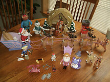 Rudolph Reindeer Team Santa Sleigh Sled Family Cave Play Set Figure LOT Bundle