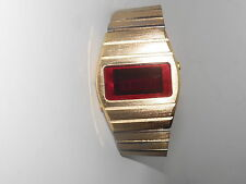Vtg 1970s Gold Wash Adjustable Band USA Red LED Wrist Watch Time Seconds Date