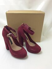 French Connection size 5 red suede block heel platform shoes 70s vibe