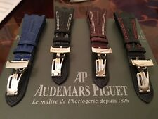 BlackBrownBlue Leather Strap + Clasp for Audemars Piguet Royal Oak Offshore