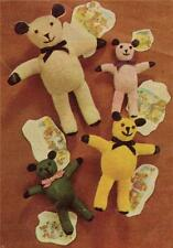 1960's TEDDY  BEARS / 4 sizes - Toy knitting pattern